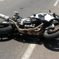 Motorcycle on its side