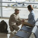 Soldier situating opposite his spouse and promising to come back home alive